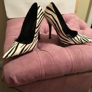 Black and White Zebra patent shoes